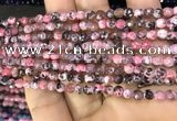 CAA2836 15 inches 4mm faceted round fire crackle agate beads wholesale