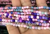CAA2837 15 inches 4mm faceted round fire crackle agate beads wholesale