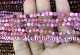 CAA2840 15 inches 4mm faceted round fire crackle agate beads wholesale