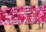 CAA2843 15 inches 4mm faceted round fire crackle agate beads wholesale