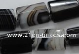 CAA289 15.5 inches 15*20mm faceted cuboid black line agate beads