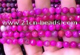 CAA2894 15 inches 6mm faceted round fire crackle agate beads wholesale