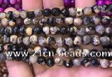 CAA2898 15 inches 6mm faceted round fire crackle agate beads wholesale