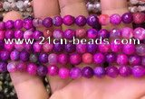 CAA2899 15 inches 6mm faceted round fire crackle agate beads wholesale