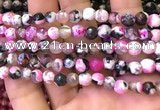 CAA2902 15 inches 6mm faceted round fire crackle agate beads wholesale
