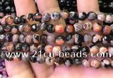 CAA2903 15 inches 6mm faceted round fire crackle agate beads wholesale