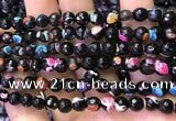 CAA2906 15 inches 6mm faceted round fire crackle agate beads wholesale