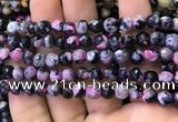 CAA2908 15 inches 6mm faceted round fire crackle agate beads wholesale