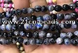 CAA2910 15 inches 6mm faceted round fire crackle agate beads wholesale