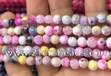 CAA2911 15 inches 6mm faceted round fire crackle agate beads wholesale