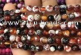 CAA2913 15 inches 6mm faceted round fire crackle agate beads wholesale