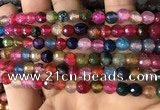 CAA2934 15 inches 6mm faceted round fire crackle agate beads wholesale