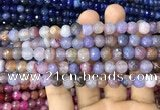CAA2962 15 inches 8mm faceted round fire crackle agate beads wholesale