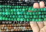 CAA2967 15 inches 8mm faceted round fire crackle agate beads wholesale