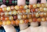 CAA2971 15 inches 8mm faceted round fire crackle agate beads wholesale