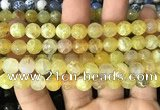 CAA2972 15 inches 8mm faceted round fire crackle agate beads wholesale
