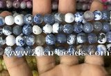 CAA2973 15 inches 8mm faceted round fire crackle agate beads wholesale