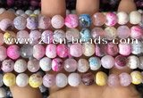 CAA2974 15 inches 8mm faceted round fire crackle agate beads wholesale