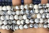 CAA2979 15 inches 8mm faceted round fire crackle agate beads wholesale