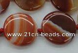 CAA298 15.5 inches 25mm flat round red line agate gemstone beads