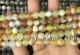 CAA2983 15 inches 8mm faceted round fire crackle agate beads wholesale