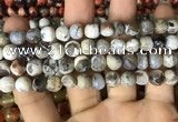 CAA2985 15 inches 8mm faceted round fire crackle agate beads wholesale