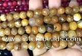 CAA2989 15 inches 8mm faceted round fire crackle agate beads wholesale