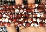 CAA2990 15 inches 8mm faceted round fire crackle agate beads wholesale