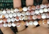 CAA2993 15 inches 8mm faceted round fire crackle agate beads wholesale