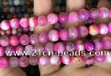 CAA2994 15 inches 8mm faceted round fire crackle agate beads wholesale