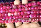 CAA2995 15 inches 8mm faceted round fire crackle agate beads wholesale