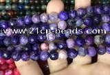CAA2996 15 inches 8mm faceted round fire crackle agate beads wholesale