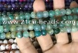 CAA2999 15 inches 8mm faceted round fire crackle agate beads wholesale