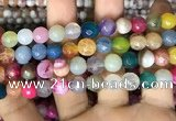 CAA3004 15 inches 8mm faceted round fire crackle agate beads wholesale