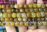 CAA3006 15 inches 8mm faceted round fire crackle agate beads wholesale