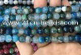 CAA3008 15 inches 8mm faceted round fire crackle agate beads wholesale