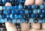 CAA3009 15 inches 8mm faceted round fire crackle agate beads wholesale