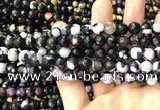 CAA3012 15 inches 8mm faceted round fire crackle agate beads wholesale