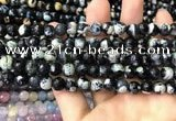 CAA3013 15 inches 8mm faceted round fire crackle agate beads wholesale