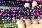 CAA3017 15 inches 8mm faceted round fire crackle agate beads wholesale