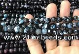 CAA3018 15 inches 8mm faceted round fire crackle agate beads wholesale