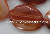 CAA304 15.5 inches 28*40mm faceted oval red line agate beads