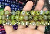 CAA3044 15 inches 10mm faceted round fire crackle agate beads wholesale