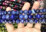 CAA3045 15 inches 10mm faceted round fire crackle agate beads wholesale