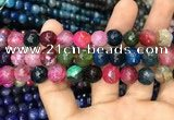 CAA3048 15 inches 10mm faceted round fire crackle agate beads wholesale