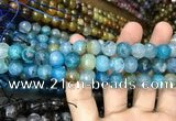 CAA3052 15 inches 10mm faceted round fire crackle agate beads wholesale