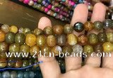 CAA3053 15 inches 10mm faceted round fire crackle agate beads wholesale