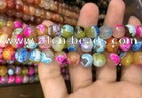 CAA3054 15 inches 10mm faceted round fire crackle agate beads wholesale