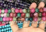 CAA3055 15 inches 10mm faceted round fire crackle agate beads wholesale