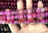 CAA3057 15 inches 10mm faceted round fire crackle agate beads wholesale